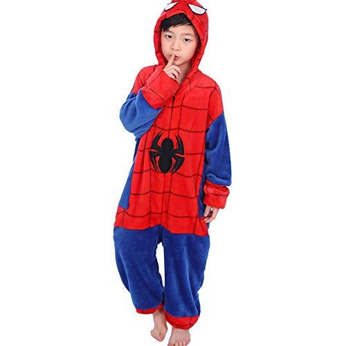 AMMA El otoño y el Invierno de Franela, Lindo Padres e Hijos, de Dibujos Animados de los niños, de una Sola Pieza Pijamas Servicio a Domicilio de Spider-Man (Size : 110-120cm)