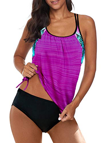Aleumdr Womens Blouson Striped Printed Strappy T-Back Push up Tankini Top with Shorts - - XX-Large