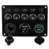 CT-CARID Panneau de commutateur à bascule 5 interrupteurs, double prise USB, chargeur 12 V, voltmètre LED pour voiture, bateau,...