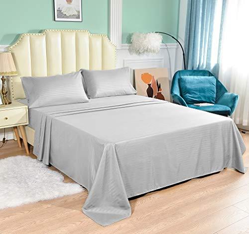 Queen-Size-Bettlaken-Set, 4-teilig, Fadenzahl 1800, extra weich, tiefe Taschen, einfache Passform, atmungsaktive & kühlende Bettwäsche, knitterfrei, bequem, gestreift, hellgrau