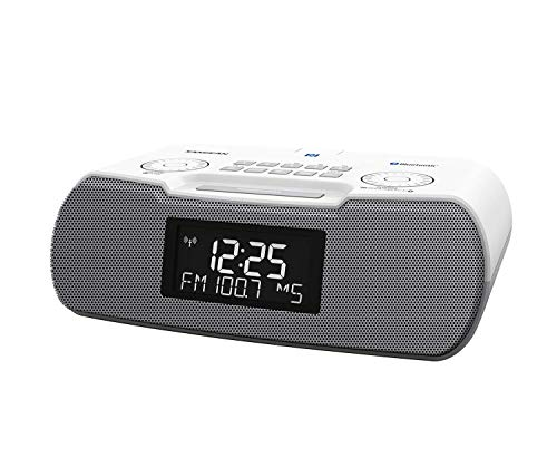 Sangean RCR-20 FM-RDS (RBDS) AM/Bluetooth/Aux-in/USB Phone Charging Digital Tuning Clock Radio with Battery Backup (Gray/White)