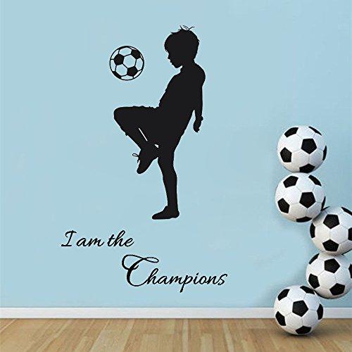 """Kololy Wall Stickers Calcio Frasi """"I Am The Champions"""" Bambini Diy Cameretta Salotto Camera Cucina Adesivi Murali Rimovibile Impermeabile Arte Carta Da Pareti Decorazione Murales"""