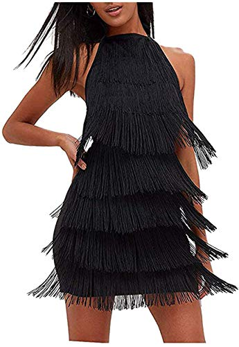 L'VOW Women' Sexy Open Back Skirt Bodycon Gatsby Cocktail Party Fringed Flapper Costume Dress (S, Black)