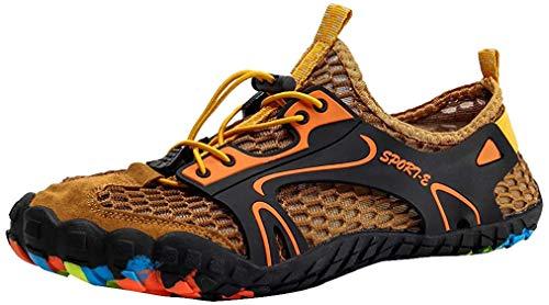 ISOOUS Chaussure Aquatique Homme Femme Chaussures d'eau Respirants échage Rapide Chaussons de Plage et Piscine Surf Plongée Brun 47
