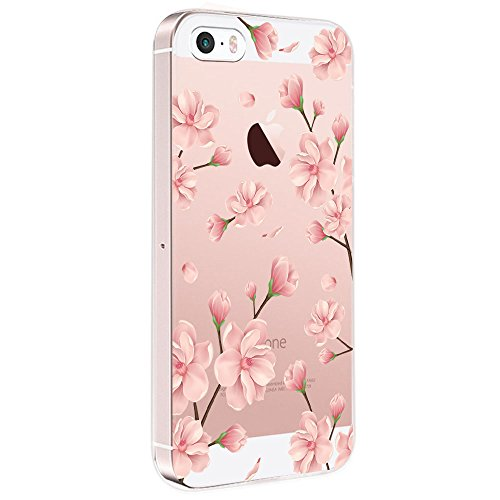 Pacyer Case kompatibel mit iPhone SE Hülle Silikon Ultra dünn Transparent iPhone 5S iPhone 5 Handyhülle Rückschale TPU Schutzhülle für Apple iPhone SE / 5S / 5 Cover Mädchen Elefant Federn (Blumen 5)