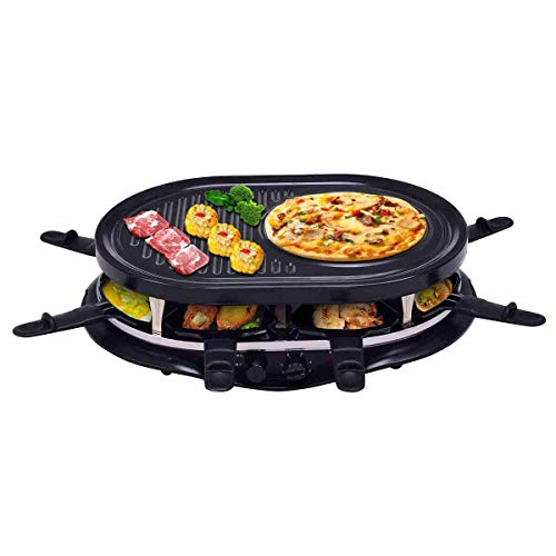 Costzon Raclette People w/Indicator Light, Adjustable Temperature Knob, Includes 8 Paddles and Spatulas, Non-Stick Grill Plate, 18.7''L x 13.4''W x 4.9''H, Black
