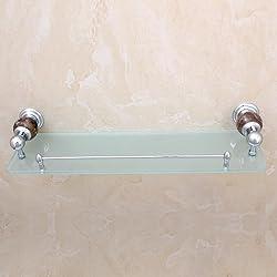 TACCY Single Bathroom Glass Shelf with Two Chrome Finish Brackets Brass made Toughened Safety Mounted Glass shelf