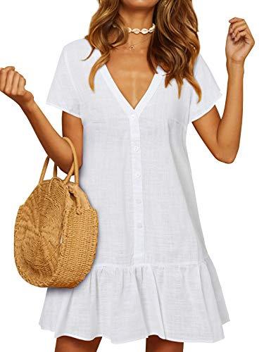YOINS Damen Sommerkleid Kurzarm Minikleid Einfarbig V-Ausschnitt Homewear Blusenkleid mit Knopfen T-Shirtkleider Tunikakleid Weiß S