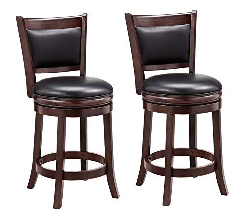 Ball & Cast Counter Height, Pack of 2 Swivel Stool, 24-Inch,2-Pack, Cappuccino