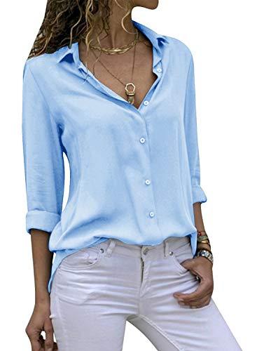 Cassiecy Damen Bluse Chiffon Elegant V-Ausschnitt Langarm Casual Oberteile Hemd Lose Langarmshirt Tops (S, Himmelblau)