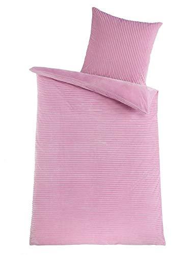 Kuscheli® Winter Wende Plüsch Bettwäsche 135 x 200 od. 155 x 220 mit 80x80 Kissenbezug Cashmere-Touch Coral Fleece Deckenbezug, Farbe:ROSA, Größe:135x200 + 80x80