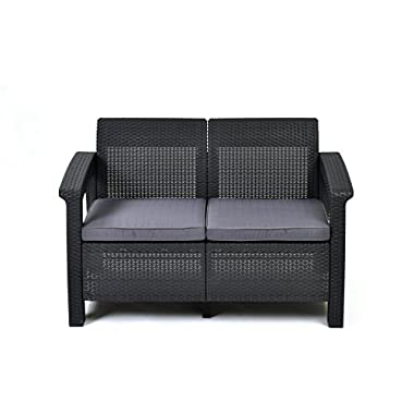 Keter Corfu Love Seat All Weather Outdoor Patio Garden Furniture w/Cushions, Charcoal