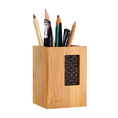 Szblaze Creative Design Japanese Garden Style Bamboo Wood Desk Pen Pencil Holder Stand for Office School(Style 1)