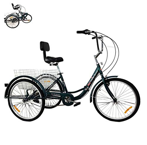 Triciclo Bicicleta de 3 Ruedas para Adultos, Triciclo Plegable de 24 '' con Cesta de la Compra, Bicicleta de Pedal Humano, Triciclo Viejo de 7 velocidades, Bicicletas para Mujer,de Carga de 150 kg