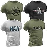4er Pack Herren T-Shirt Vintage US Army mit Frontp