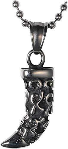 NC134 Collar Retro de Personalidad clásica de Moda para Hombres y Mujeres Collar de Diente de Lobo pequeño de Acero Inoxidable Fácil de Combinar con Colgante