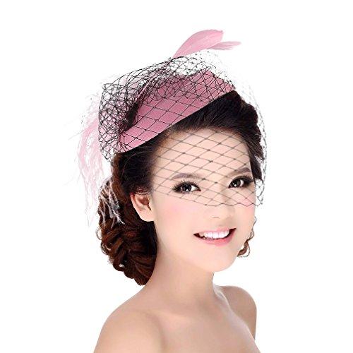 DEMU Damen Elegante Feder Fascinator Haarklammer Hochzeit Cocktail Netzschleier Mini-Hut Pink
