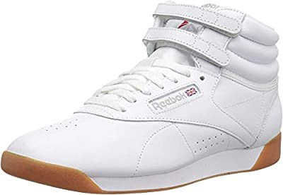 Reebok Women's Freestyle Hi Walking Shoe, White/Gum, 6 M US
