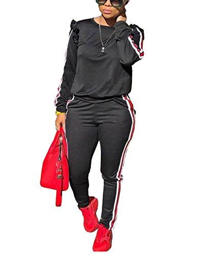 Akmipoem Sweatsuit Jumpsuits for Women Ruffle Sleeve Sweatshirt and Sweat Pants Set Tracksuits Black XL