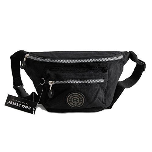Bag Street Gürtel Tasche Hüfttasche Bauchtasche Nylon präsentiert von ZMOKA® in versch. Farben ... (Schwarz)
