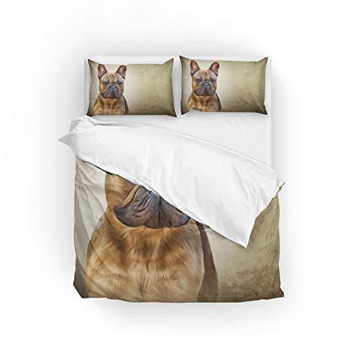 MyDaily Bettwäsche-Set mit Zeichnungshund, französische Bulldogge, Polyester, Multi, Volle Größe