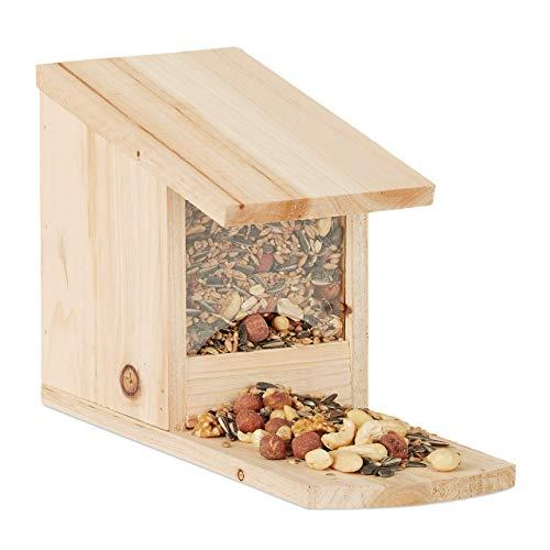 Relaxdays, nature Mangeoire écureuil bois nourriture animaux HxlxP: 17,5 x 12 x 25 cm résistant solide, 25x12x17,5 cm