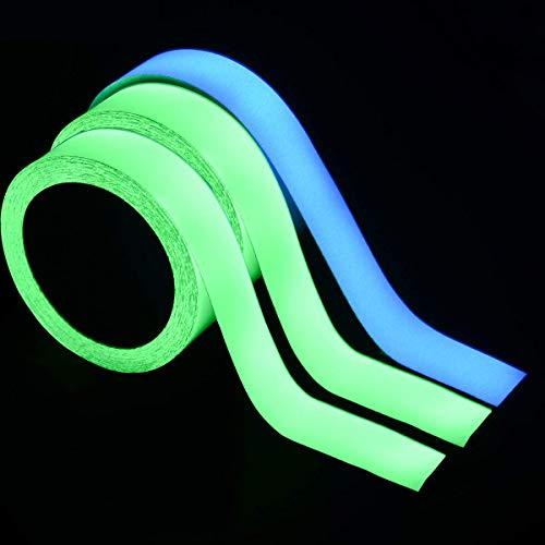 LUCKYBEE 高輝度蓄光 3M ダークテープの輝き 発光安全テープ ホリデー装飾 長時間発光 自転車 階段蛍光 発光安全テープ 青*2、緑*1 (20mm*3m)
