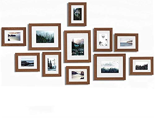Muzilife 11 pcs, 12 pcs Collage Picture Frame, gallery Display Photograph and Wall Décor Photo Frames for Dining Room Bedroom and Living Room (Brownq)