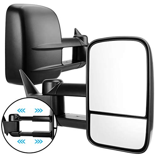 AUTOSAVER88 Compatible with 88-98 Chevy GMC Towing Mirrors, C/K 1500 2500 3500 Pickup Truck Manual Extendable Tow Mirrors, Driver and Passenger Sides Pair Set
