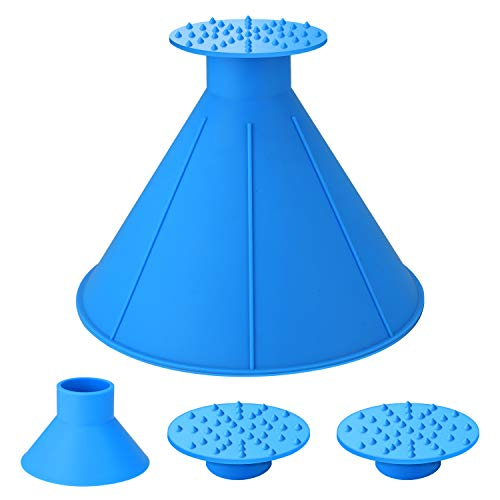 Seven Sparta Ice Scraper Round Cone Car Window Windshield Cone -Shaped 6.8' Larger Coverage Diameter Snow Removal Tool with Ice Breakers (Blue)
