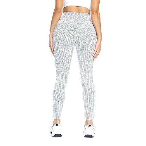 Hhwei Leggings Deportivos Mujer Jacquard Pantalones de Compresión Cintura Alta Pantalón Yoga con Bolsillos