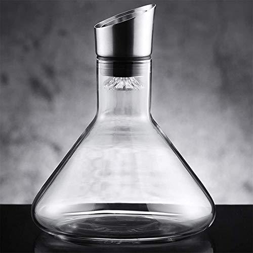 HCMNME Decantador de Vino de Cristal Hecho a Mano, Cascada Free Crystal Glass Decanter Dispensador de vinos del hogar Filtro de Dos Canales para Beber Puro Accesorios de Vino