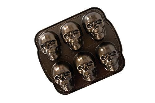 Nordic Ware Spuk Totenkopf-Muffins, Aluminium, Bronze, Haunted Skull Cakelet Pan