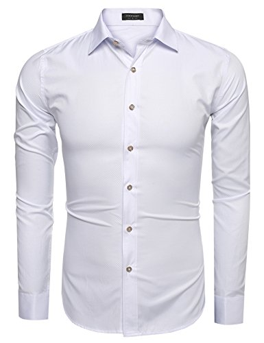 Coofandy Men?s Fashion Slim Fit Long Sleeve Stripe Dress Shirt Casual Shirts