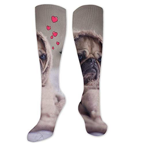 Pug envuelto en manta marrón de algodón sobre la rodilla calcetines altos de muslo calcetines largos tubo calcetines