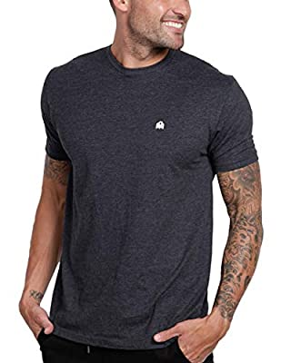 INTO THE AM Men's Short Sleeve Crew Neck Basic Tee (Charcoal Heather, X-Large)