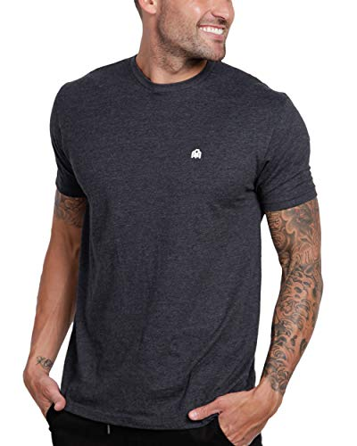 INTO THE AM Men's Fitted Crew Neck Basic Tees - Premium Modern Fit Short Sleeve Plain Logo T-Shirts for Men (Charcoal Heather, Large)