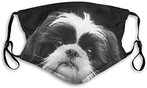Adjustable Reusable Kids Men Women Neck Gaiters with Filter Black White Shih Tzu Dog Family Pet Cute Animal Pattern 1