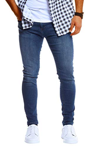 Leif Nelson Herren Jeans Hose Slim Fit Denim Blaue Schwarze Lange Jeanshose für Männer Coole Jungen weiße Stretch Freizeithose Schwarze Cargo Chino Sommer Winter Basic LN0303 Blau W29/L30