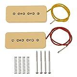 2Pcs Yootones P90 Pickup Bridge & Neck Single Coil Pickups Set N/B Compatible with Electric Guitar Parts Replacement (Yellow)