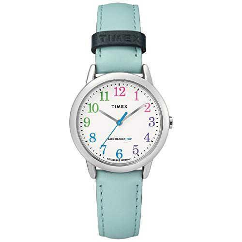 Timex Women's TW2U29600 Easy Reader 30mm Blue/Rainbow Leather Strap Watch