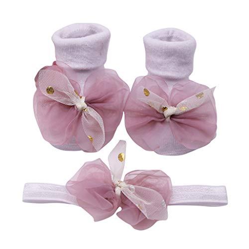 Salalook babyhaarband met antislip sokken, badstof voor baby's, incl. 1 haarband voor meisjes, antislip sokken