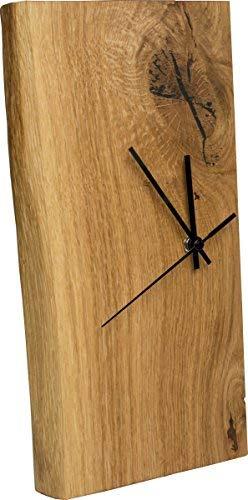inn art dESIGN Funk-Wanduhr Eiche Massiv | Echt-Holz Uhr als Standuhr & Tisch-Uhr verwendbar | einseitig mit Baumkante | schlicht & modern