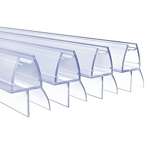 kinkaivy Duschdichtung, 4 x 80cm Duschdichtungen für Duschtüren, 6/7/8mm Transparent Dichtung Dusche Glastür, Wasserabweisende Ersatzdichtung für Dusche, Schwallschutz Dichtkeder