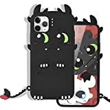 MME Character Case for iPhone 12 Pro Max Case 3D Cartoon How to Train Your Dragon Cute Animal Toothless Dragon Soft Silicone Rubber Case for Women Girls Teen (Black, 12 Pro Max)