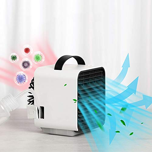 DAI QI Portable Air Conditioner Fan, Small Evaporative Air Cooler Humidifier Purifier, Personal Quiet USB Rechargeable Mini Cooling Misting Desk Fan with LED Light 3 Speeds for Home Office Bedroom