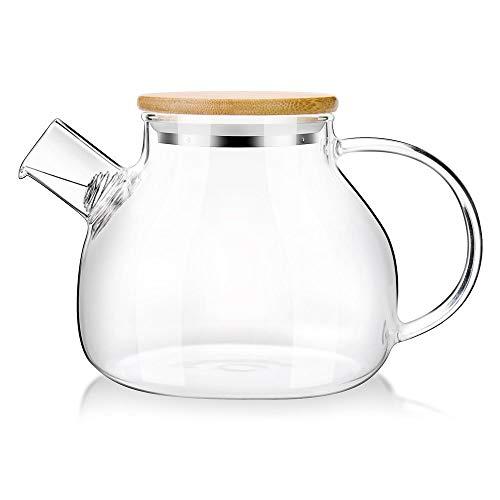 Ericcay Ga Homefavor Glass Teekanne 1000Ml Elegant Einfacher Stil Wasser Karaffe Mit Bambus Deckel Teekanne Bequem Wärmer Vintage Orientalisch Design Style (Color : Colour, Size : Size)