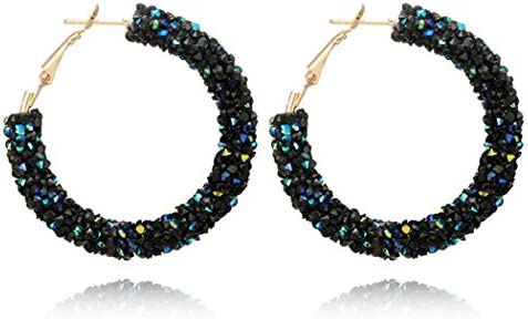 Myhouse Women Girls Circle Earrings Fashion Wild Crystal Rhinestone Earrings Metal Circle Semicircular product image