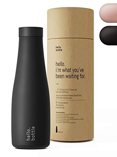 hello.bottle Edelstahl Trinkflasche 500ml Schwarz Vakuum Isoliert-12h extrem heiß I 24h eiskalt, Auslaufsicher, BPA Frei, Kohlensäure geeignet. Thermosflasche für Büro, Sport, Yoga, Outdoor, Camping
