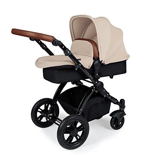Ickle Bubba Stomp V3 2-in-1 Carrycot & Pushchair Travel System (Sand with Tan Handles, Black Chassis)